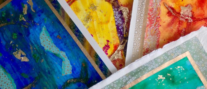 Colourful abstract art, chiyogami paper