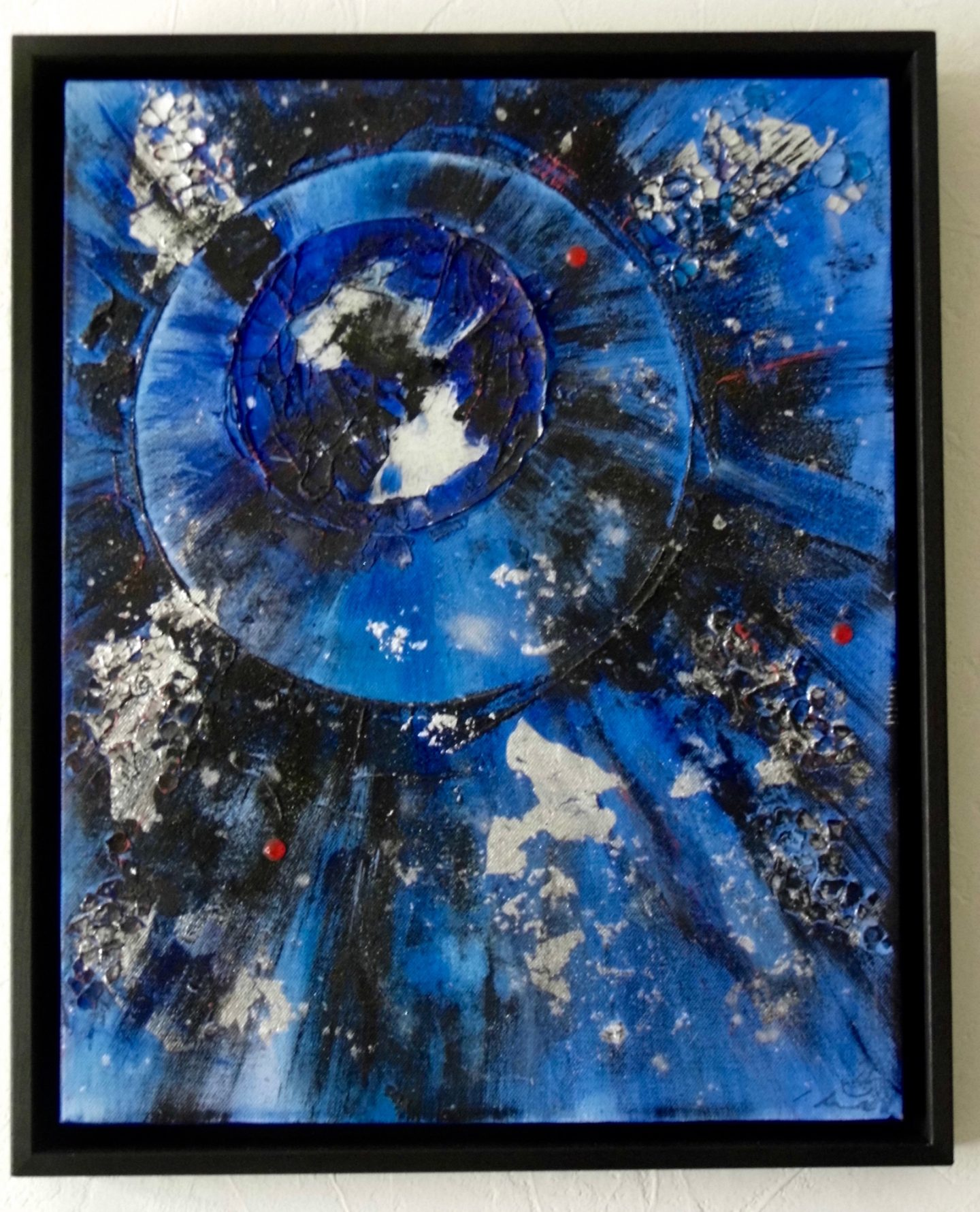 black blue silver abstract painting framed emerald dunne art