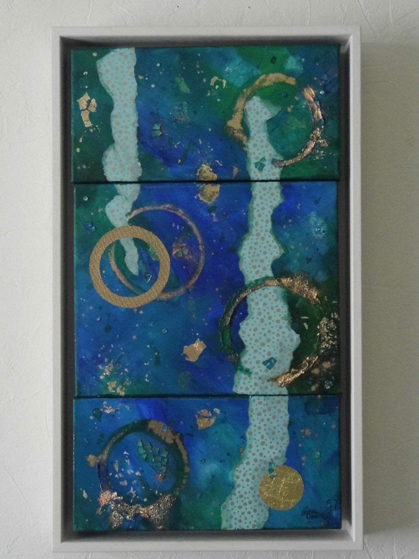 blue green abstract triptych painting framed emerald dunne