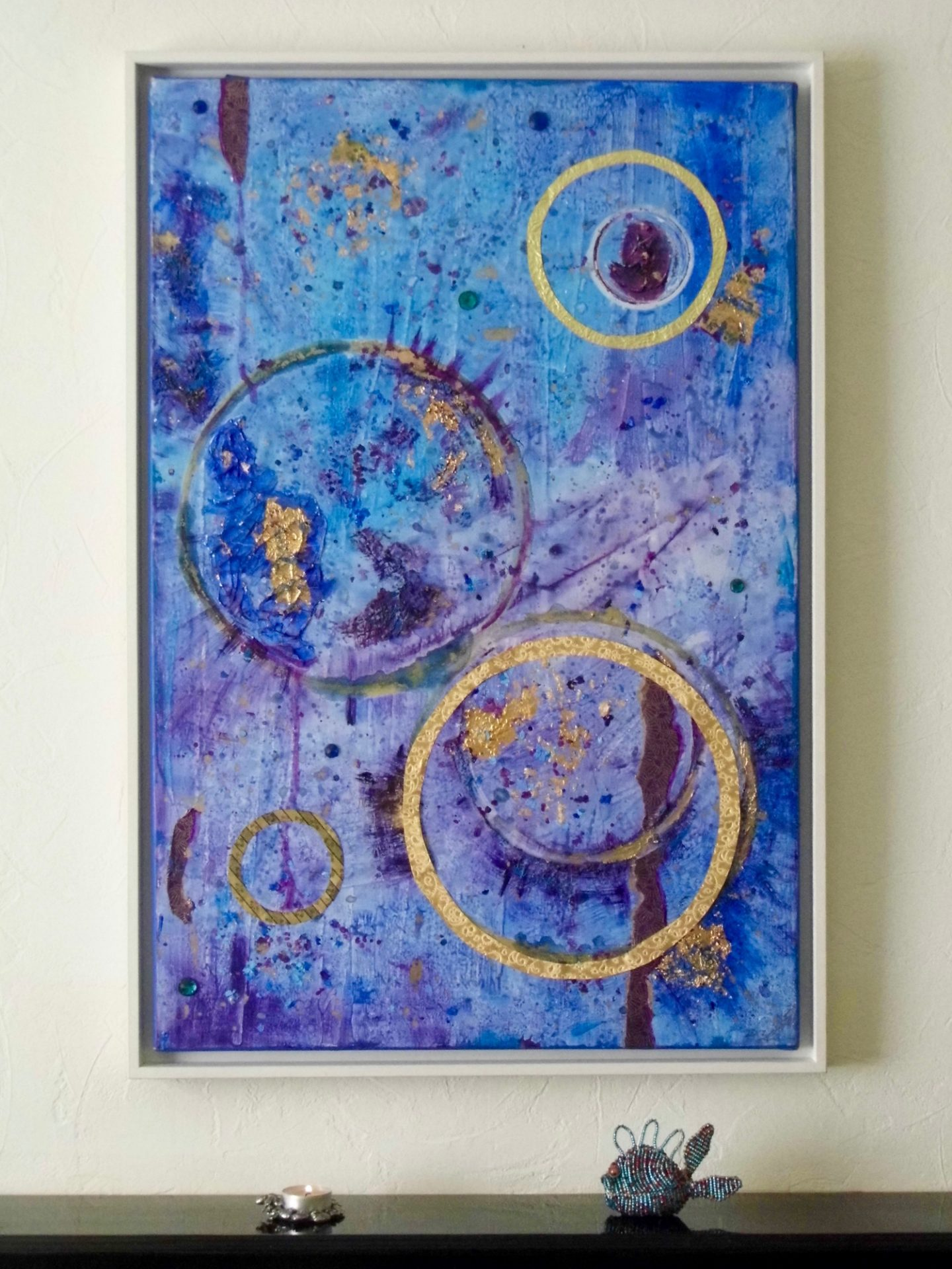 blue purple gold abstract painting framed emerald dunne