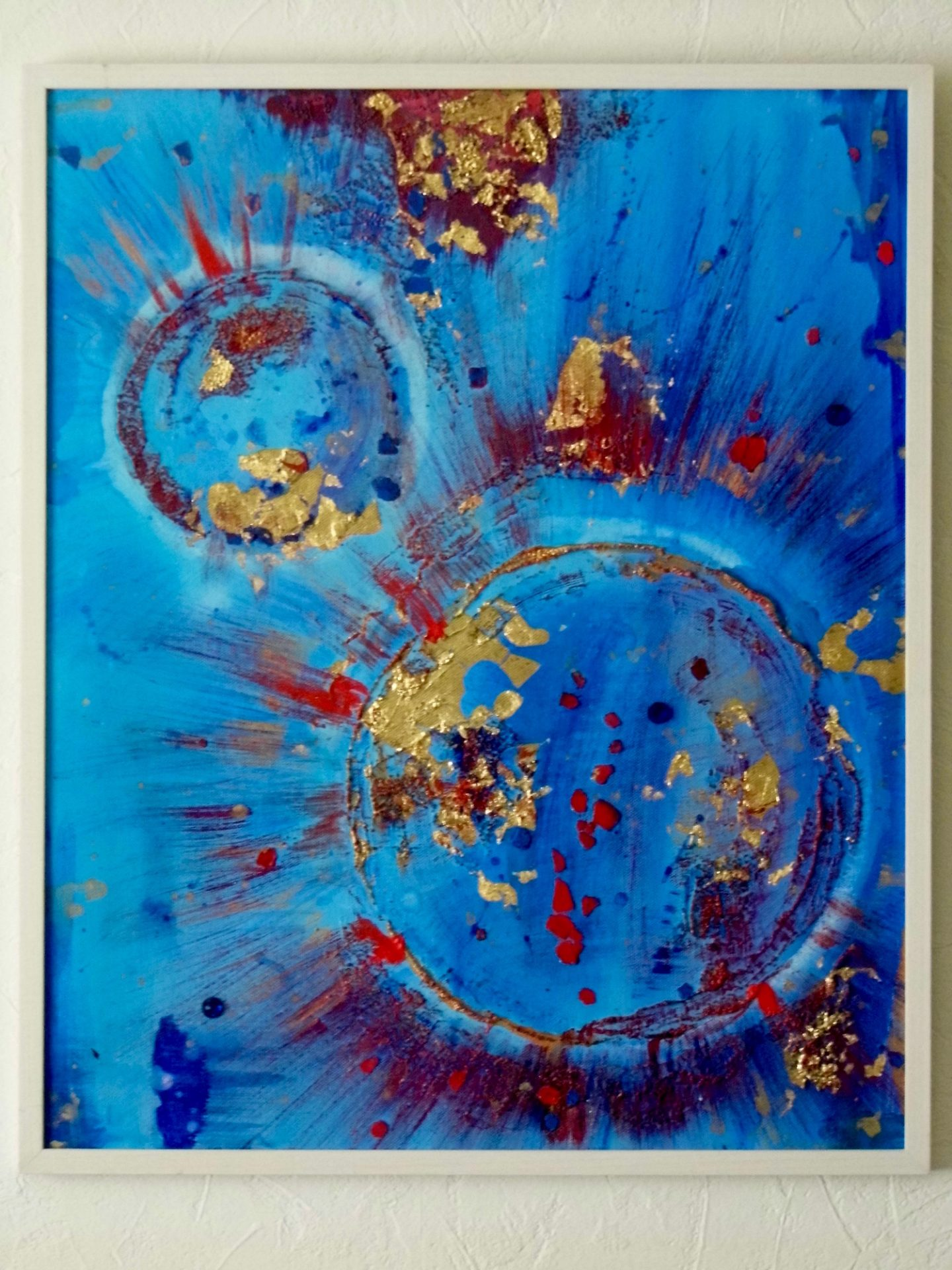 blue red gold abstract painting framed emerald dunne