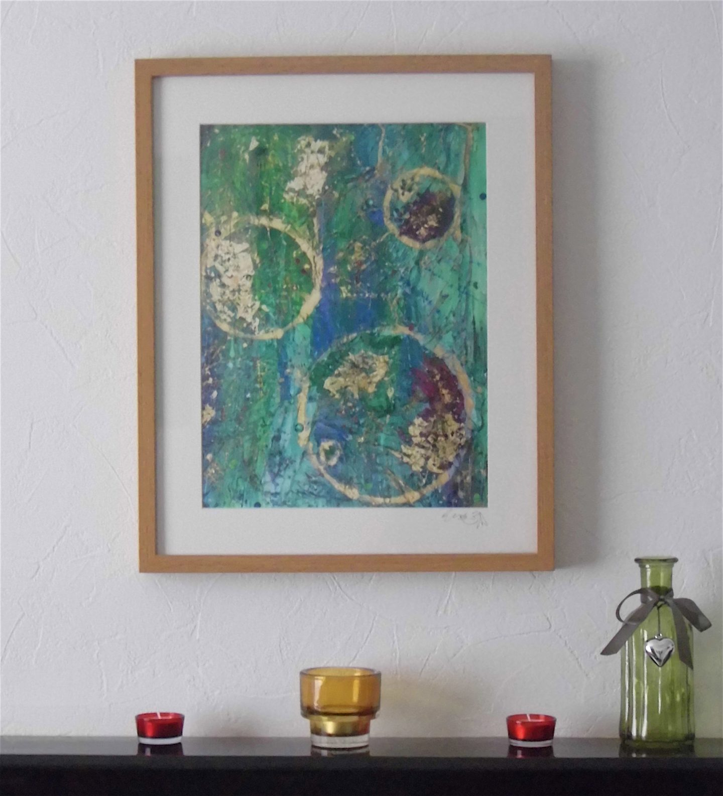 green purple gold abstract limited edition giclee print emerald dunne art