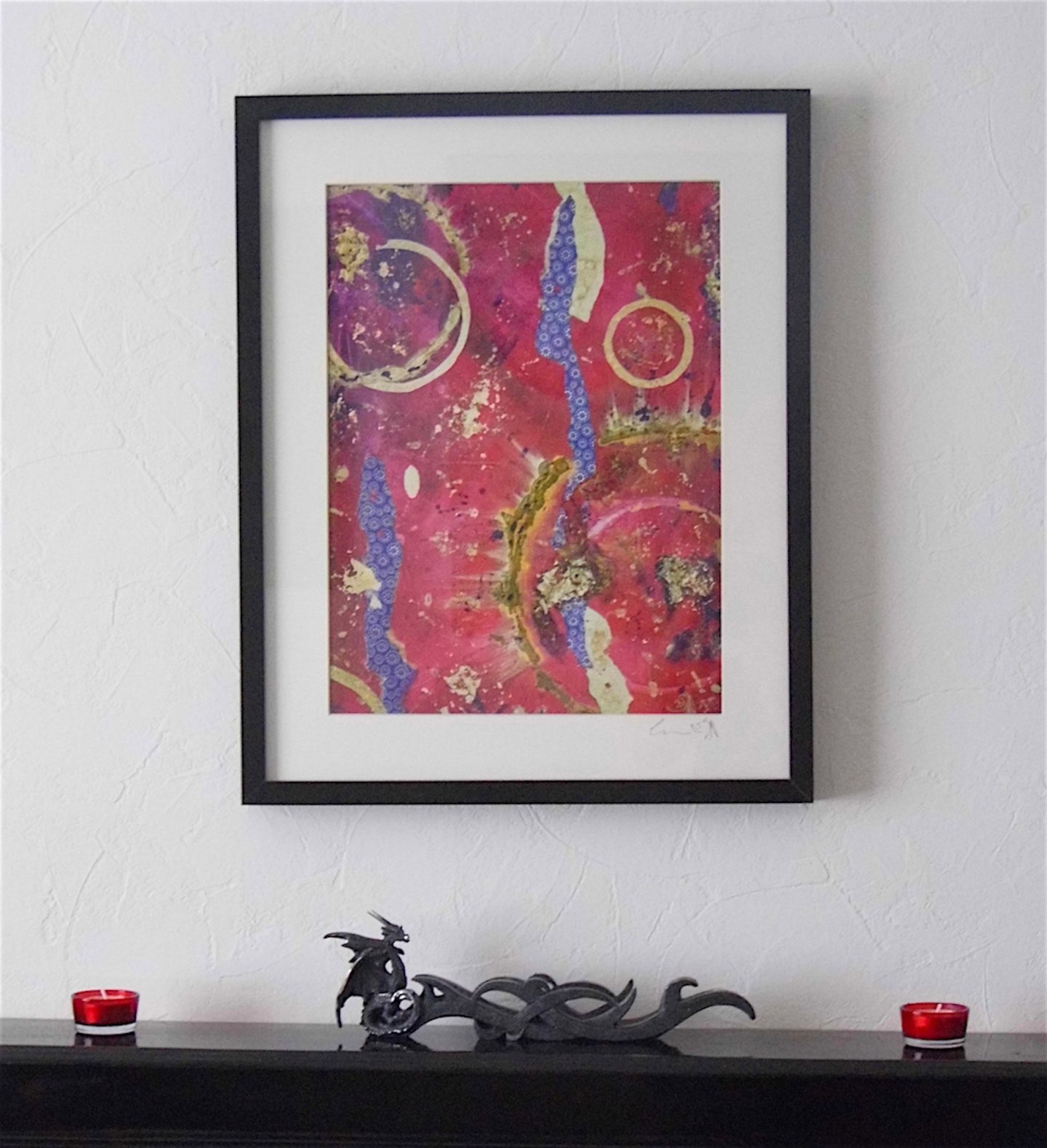 red purple gold abstract giclee print framed emerald dunne art framed