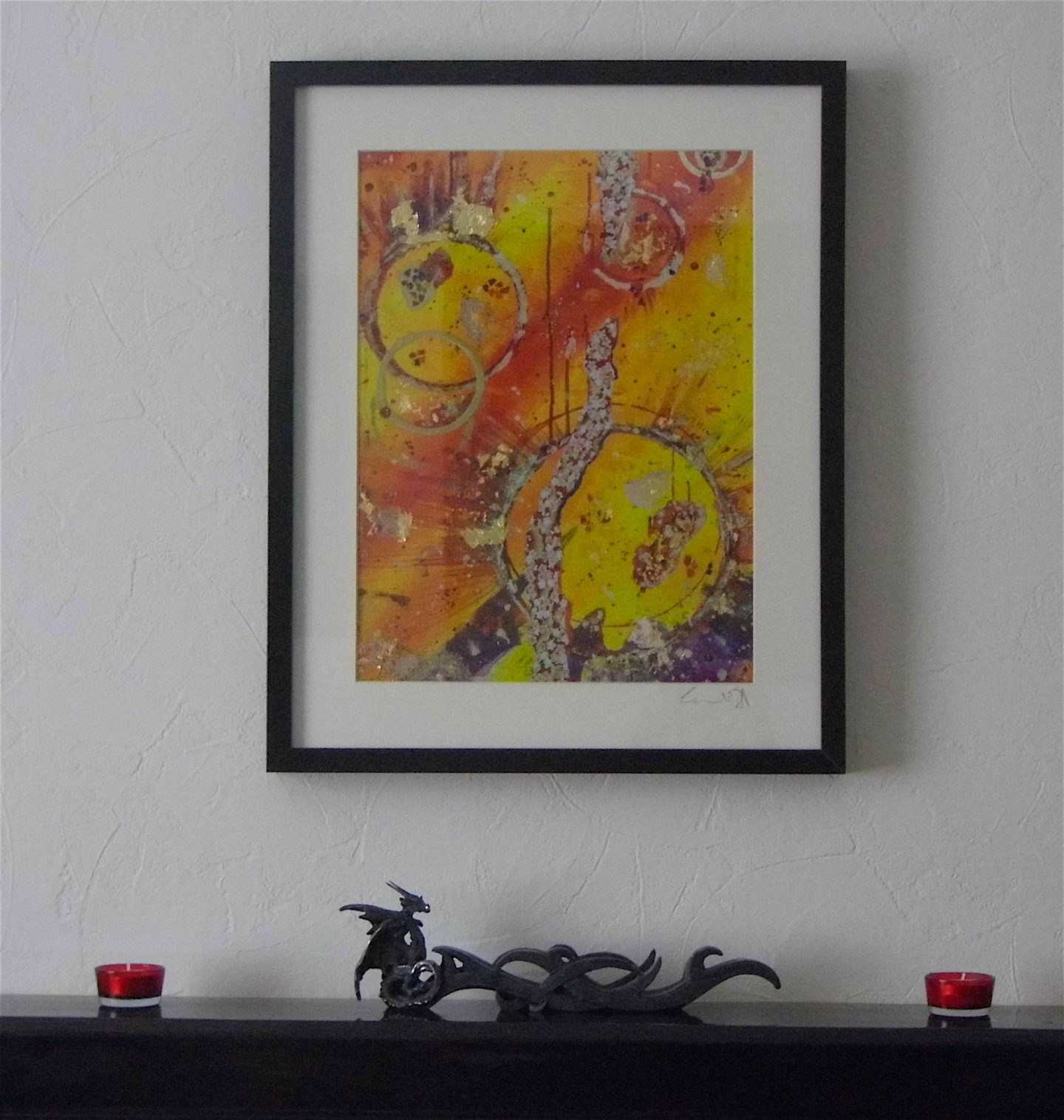 red yellow gold abstract limited edition print emerald dunne art framed
