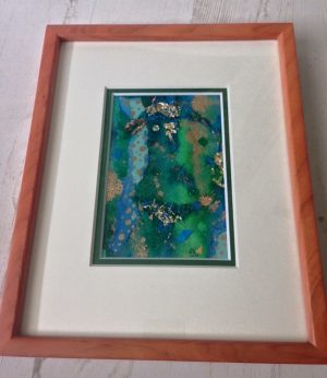 small green blue textured framed painting emerald dunne
